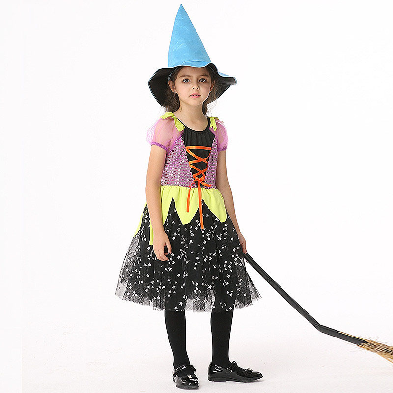 2017 Witch Costume Dress Kids Halloween Carnival Party Star Pattern Sequin Girl Witch Dresses Clothes Knee Length With Cap ywhuansen sequin embroidered carnival costume sexy children images bowknot princess dress girl organza evening dresses layered