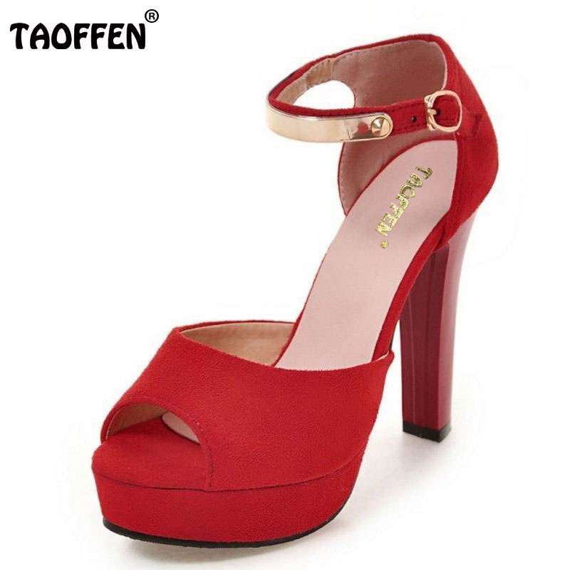 TAOFFEN Ladies High Heel Sandals Ankle Strap Open Toe Platform Fashion Thick Heel Shoes Casual Women Metal Footwear Size 34-43 2016 package with high heeled sandals women s shoes formal platform thick heel open toe shoe 40 43 plus size women s small yards