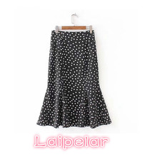Summer boho skirts womens polka dot ruffle high waist skirt women black korean style fashion streetwear Laipelar