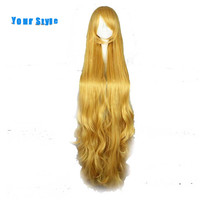 Your Style 100cm Long Wavy Cosplay Hair Wigs Women Party Costume Yellow Synthetic High Temperature Fiber