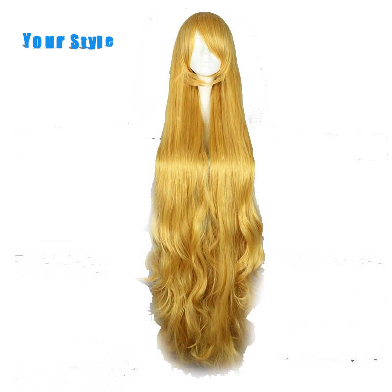 Your Style <font><b>150cm</b></font> Long Wavy Cosplay Hair <font><b>Wigs</b></font> Women Party Costume Yellow Synthetic High Temperature Fiber image