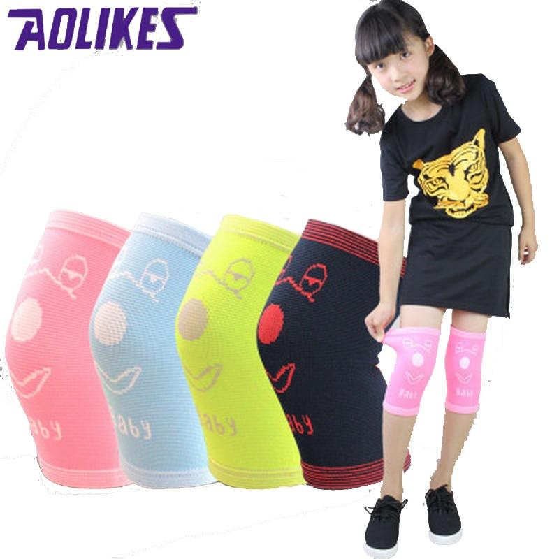 AOLIKES 1 жұптық нейлон баласының торды қолдауы Спорттық балаларға арналған қорғағыш трикотаждар Кэндис Түсі Elastic Knee Pads Dance Rodilleras