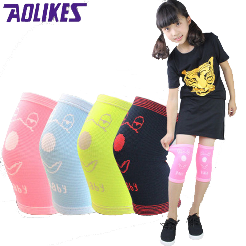 AOLIKES 1 جفت نایلون کودک زانو بند حمایت از زانو محافظ ورزشی برای کودکان آب نبات رنگ آب نبات زانو زانو الاستیک Dance Rodilleras
