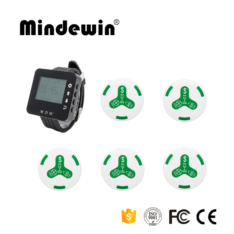 Mindewin Wireless Restaurant Call Paging System 1pc M-W-1 Wrist Watch Receiver+ 5pcs M-K-4 Waterproof Call Transmitter Button mindewin wireless restaurant paging system 10pcs waiter call button m k 4 and 1pcs receiver wrist watch pager m w 1 service bell