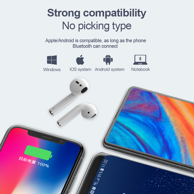 Wearpai i10 TWS bluetooth/earphone Mini Wireless Touch Earphone Earbuds with 3D Stereo Sound Built-in Mic Charging box 3