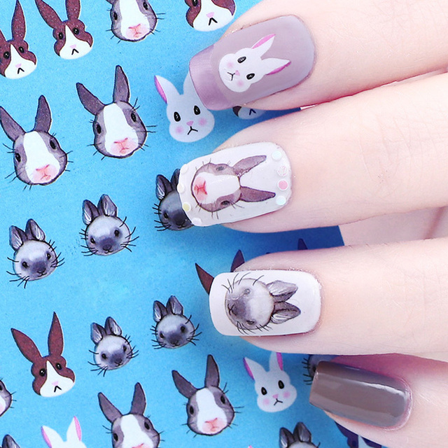 1 Sheet 12855cm Diy Nail Decoration Rabbit Water Decal Kawaii