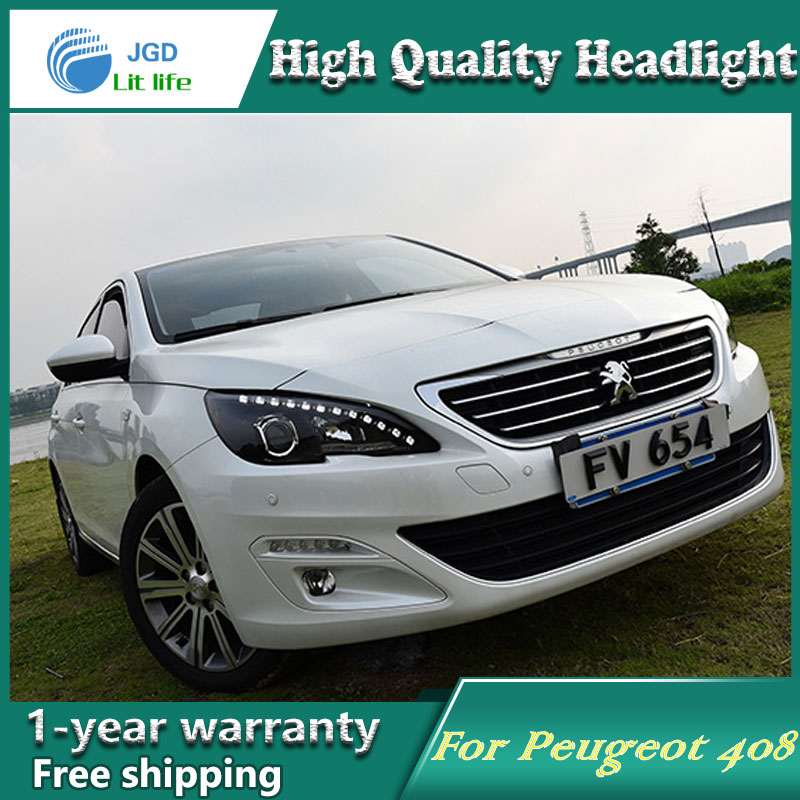 Car Styling Head Lamp case for Peugeot 408 2014-2016 Headlights LED Headlight DRL Lens Double Beam Bi-Xenon HID car Accessories hireno headlamp for peugeot 4008 5008 headlight headlight assembly led drl angel lens double beam hid xenon 2pcs