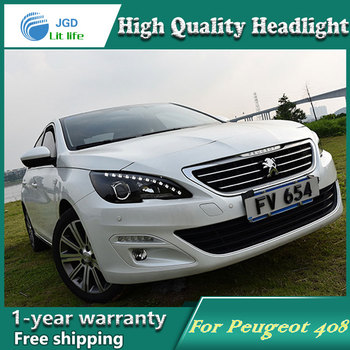 Car Styling Head Lamp case for Peugeot 408 2014-2016 Headlights LED Headlight DRL Lens Double Beam Bi-Xenon HID car Accessories