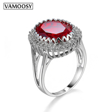 VAMOOSY Classic Hot Red AAA Cubic Zircon Big Stone Wedding Ring Micro Pave Halo Rings For Women Jewelry Wholesale wedding rings blucome luxury aaa zircon copper ring clear cz micro pave gold color rings for women flower big long section finger ring wedding