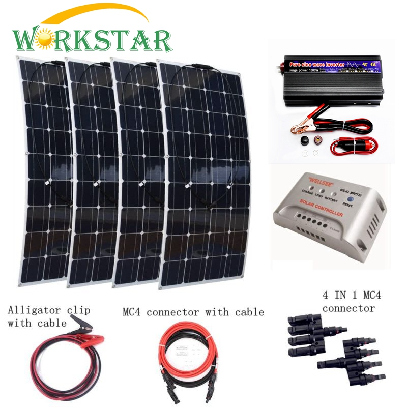 4pcs 100W Flexible Solar Panel Module with 1000W inverter and 30A controller Houseuse Complete 400W Solar System Factory Price 4pcs 100w flexible solar panel with mppt 30a controller and mc4 y connectors for 12v battery solar charger houseuse solar kit
