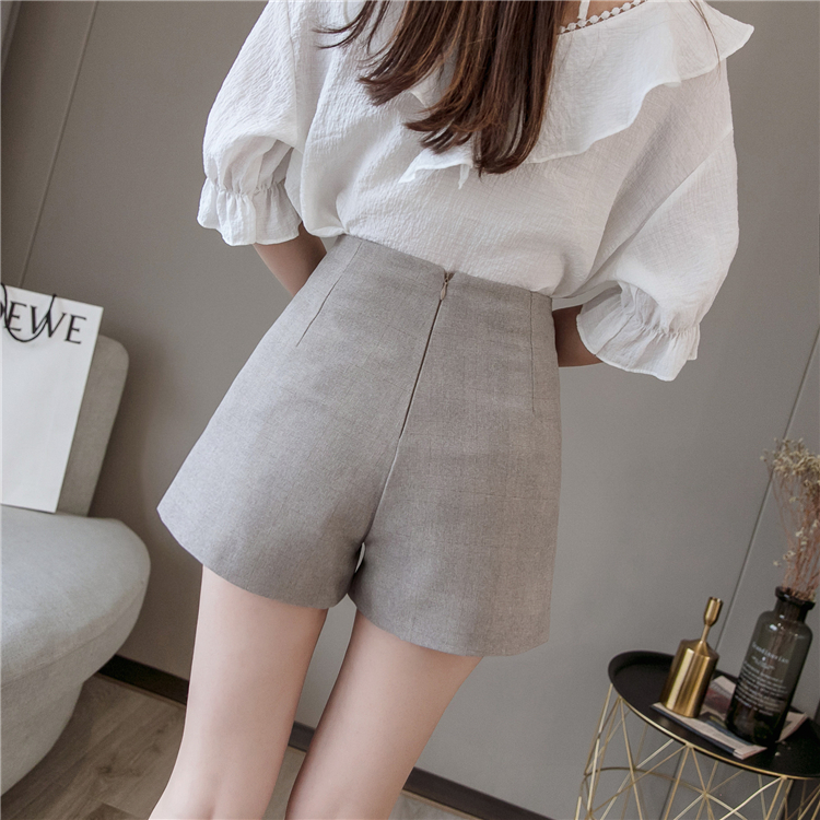 Summer Shorts For Women 2019 High Waist Casual Wide Leg Shorts Loose OL work Wear Solid Shorts 22