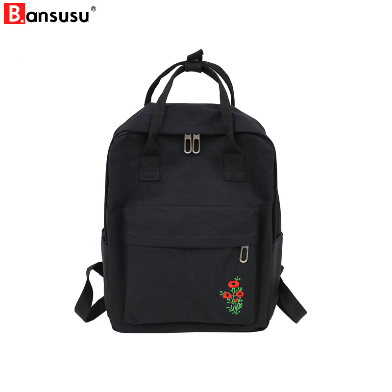 Women Backpacks Korean Style Embroidery Flower Canvas