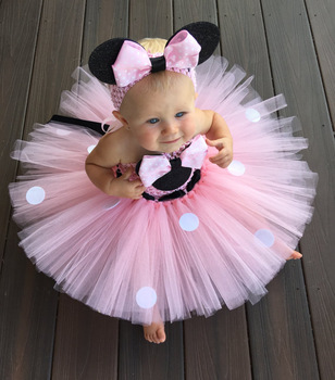 Lovely Girls Pink Cartoon Tutu Dress Baby Mickey Minnie Crochet Tulle Tutus with Dots Bow and Headband Kids Birthday Party Dress