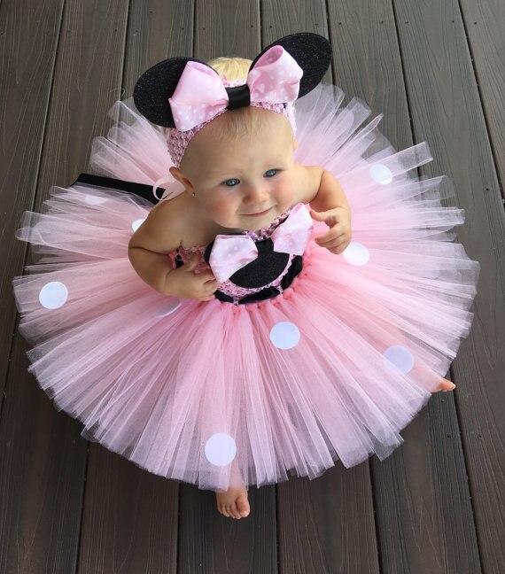 Schöne Mädchen Rosa Cartoon Tutu Kleid Baby Mickey Minnie Häkeln Tüll Tutus mit Dots Bogen und Stirnband Kinder Geburtstag Party kleid
