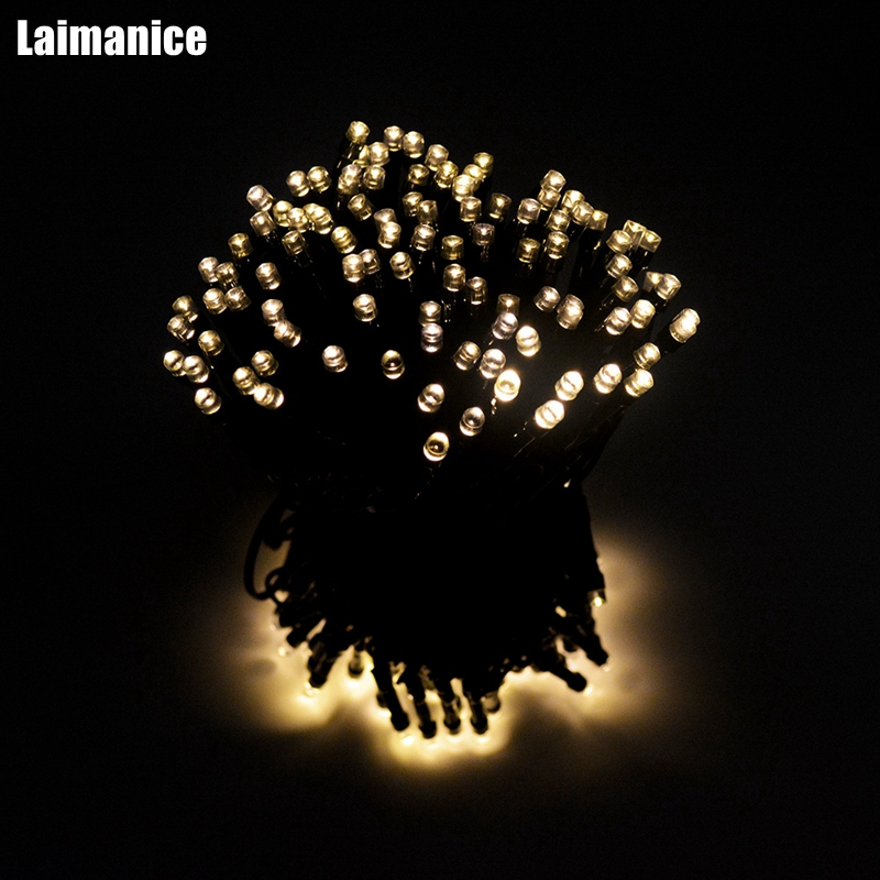 Solar Outdoor String Lights 52M 500 LED Solar Powered Fairy Light for Garden, Christmas Tree Party Waterproof Decoration Lamp solar powered 0 64w 10lm 200 led blue light garden christmas party string fairy light blue 20 5m
