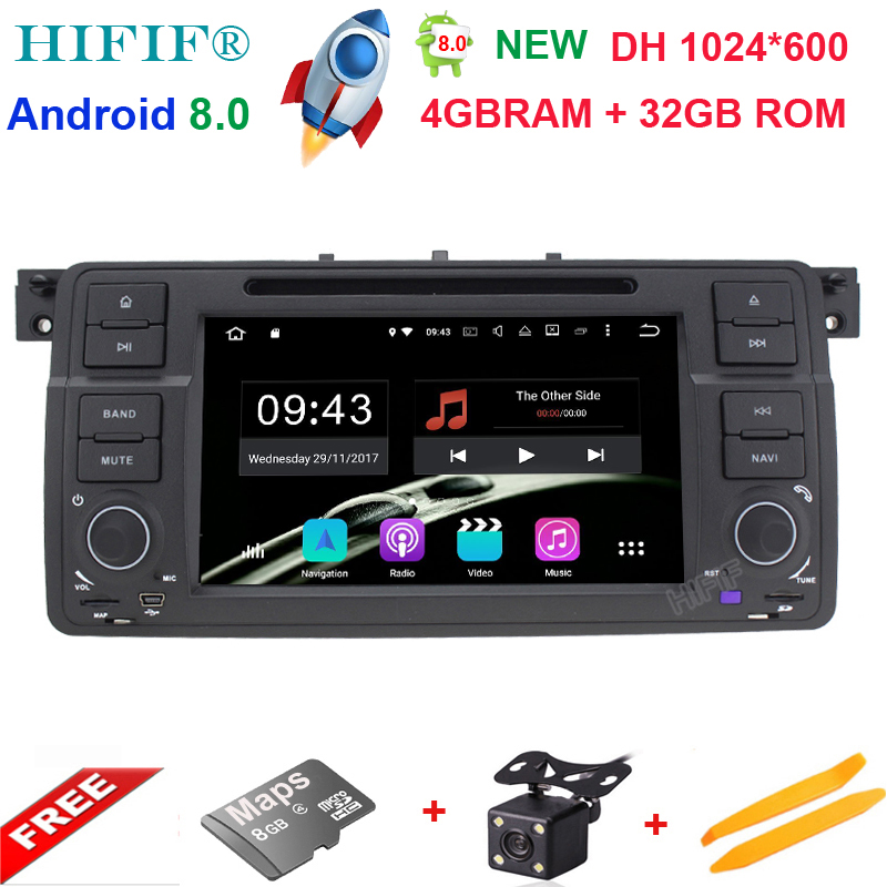 4+32G 2 Din 7''Android 8.0 Car DVD Player For BMW E46 Octa-core GPS Navigation Car stereo Bluetooth Wifi FM Rds Radio Headunit