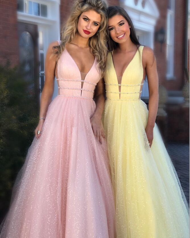 Beautiful Evening Dresses Long Stage Ceremony Dress 2019 Graduation Prom Dress Shiny Deep V-neck Prom Gown Vestido De Noiva Robe