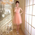 ZX538RF#Real photos prom dress wholesale custom company will host the 2016 spring new bride toast short Bridesmaid dress Pink