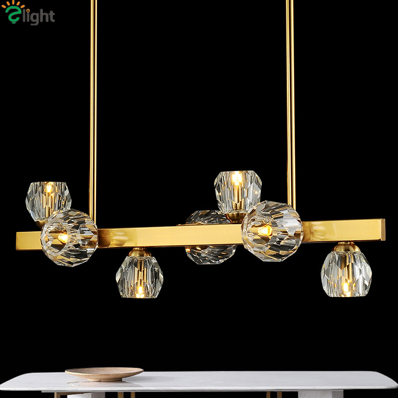 RH American Straight Dining Room Brush Metal Led Pendant Lights Crystal / Glass Shades Luminarias Hanging Lamparas FixturesRH American Straight Dining Room Brush Metal Led Pendant Lights Crystal / Glass Shades Luminarias Hanging Lamparas Fixtures