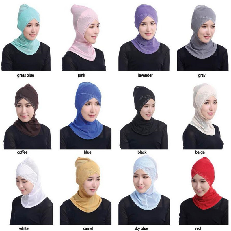 12 colors Full Cover Muslim Hijab Woman Head Cover Scarf Rhinestone Lace Islamic Turban Beanies Lady Underscarf Ninja Hijab