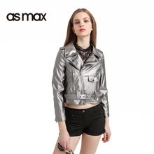 asmax 2017 Gray Autumn Fashion Biker Jacket Women Punk Style Leather Short Coat Turn-down Collar Long Sleeve Lady Cardigan