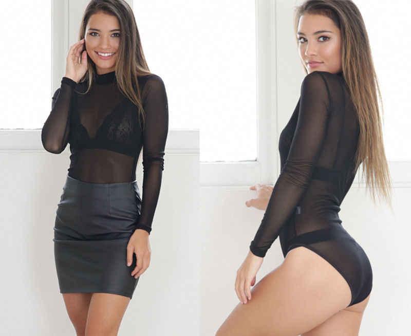 แฟชั่นเซ็กซี่สตรีสุภาพสตรีเสื้อยืดแขนยาวดูผ่านยอดC Lubwear T Ulleตาข่ายสีดำสีชมพูสีแดงเสื้อยืด