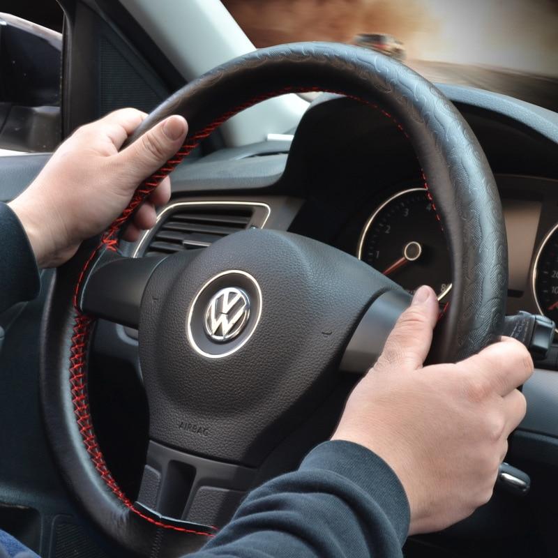 DIY Genuine Leather Car Steering Wheel Cover Soft Anti slip 100% Cowhide Braid Leather handsewn car steering wheel sleeve 38CM