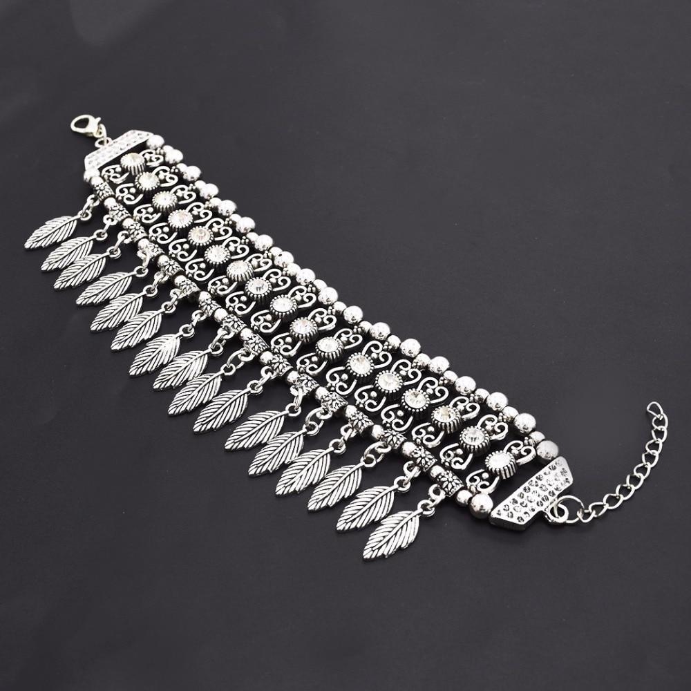 Vintage Gypsy Coachella Hipple Festival Cuff Bangle Silver Metal Rhinestone Leaf Tassel Chunky Bracelets Anklet For Women Indian