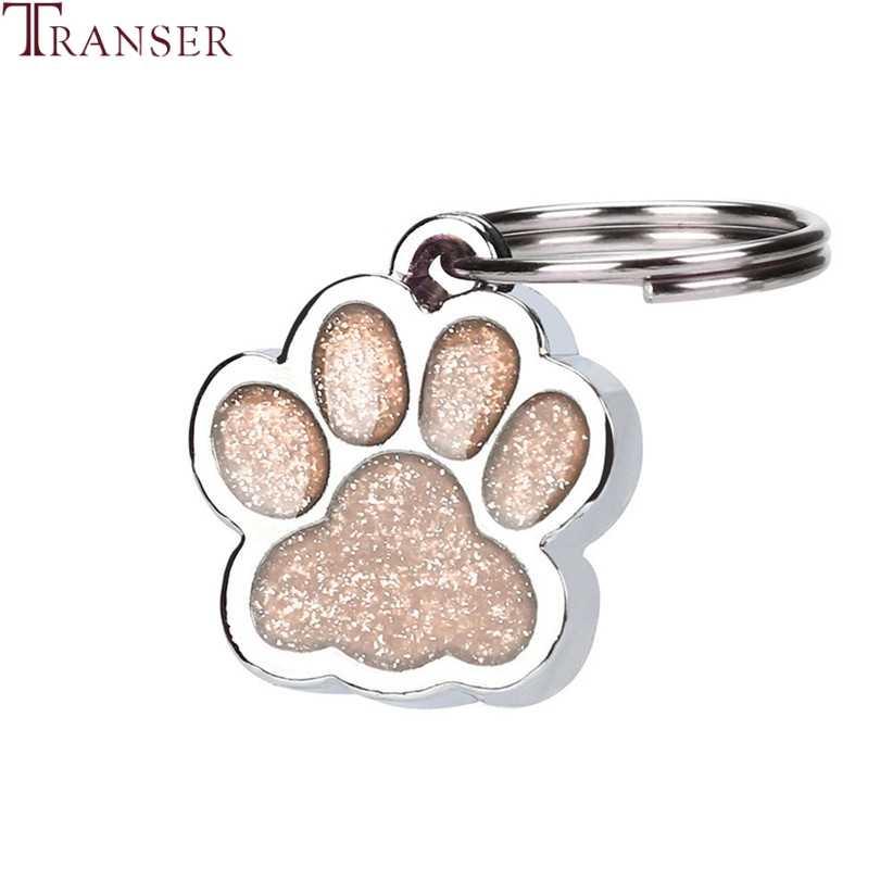 Transer Pet Supply 25 มม.เงา Glitter Paw รูปร่างสัตว์เลี้ยงสุนัข Cat ID Tag พวงกุญแจแหวน 80309