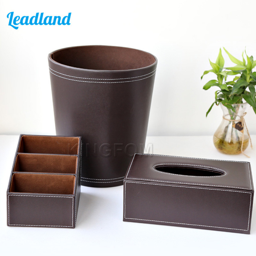 3pcs PU Leather Office Supplies Desk Sets Includes Controller Storage Box Tissue Box Trash Bins T78