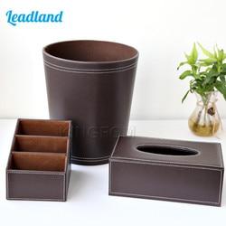 3pcs PU Leather Office Supplies Desk Sets Includes Controller Storage Box Tissue Box Trash Bins T78