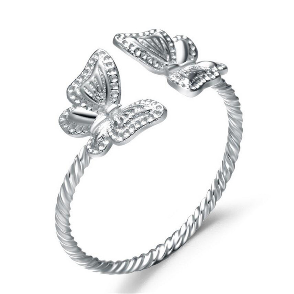 100% Sterling Silver Rings For Women Fashion Butterfly Silver Ring 925 Silver  Ring Designs For