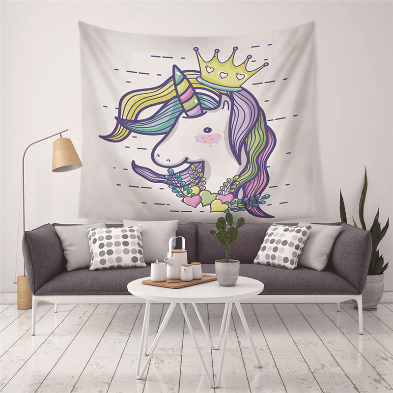 Kiwiberry Cartoon Unicorn Rainbow Castle Printed Wall Tapestry Kids Room Wall Hanging Tapestries Moroccan Decor Sofa Chair Cover