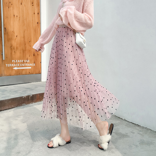 4cb1127d5 € 9.93 30% de DESCUENTO|Aliexpress.com: Comprar TingYiLi Polka Dot falda  Primavera Verano plisado cintura alta Faldas largas Mujer coreana negro ...