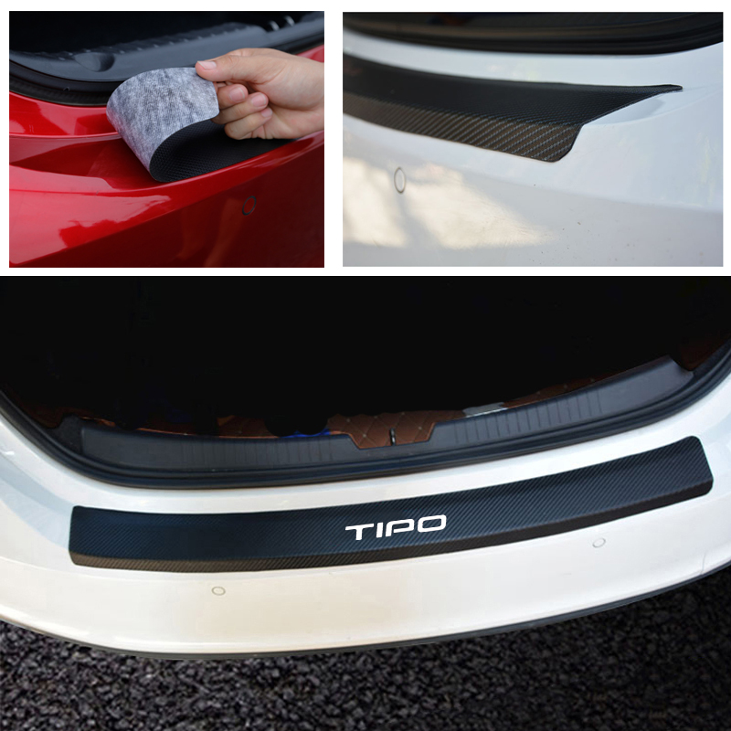 PU leather Carbon fiber Styling Car Accessories After guard Rear Bumper Trunk Guard Plate For Fiat Tipo-in Car Stickers from Automobiles & Motorcycles