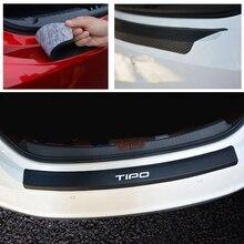 Plaque de protection pour pare chocs arrière pour Fiat Tipo, accessoires de voiture en cuir PU, en fibre de carbone