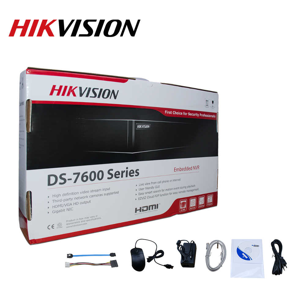 Hikvision الأصلي DS-7604NI-K1/4 P 4CH POE جزءا لا يتجزأ التوصيل لعب 4K PoE NVR للكاميرا IP نظام الدائرة التلفزيونية المغلقة للترقية HDD للاختيار.