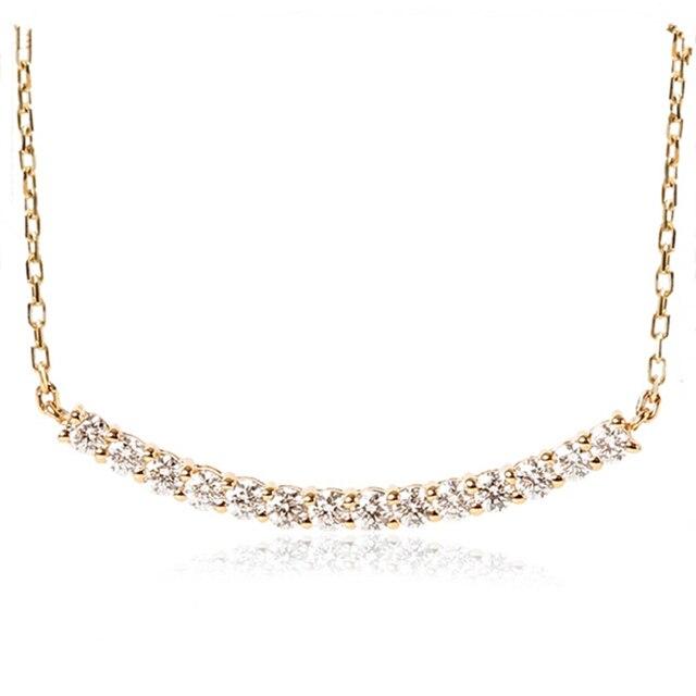 LASAMERO 0.35ctw Pingente de Diamante 14 Estilo Conjunto Linha 18 k Ouro Amarelo Prong Solitaire Pedra Natural Pingente de Diamante Colar