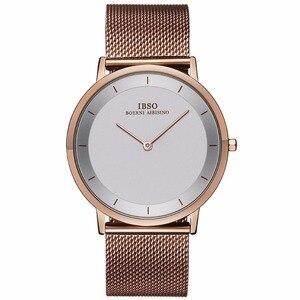 Image 4 - Ibso 간단한 스타일 패션 시계 울트라 얇은 스테인레스 스틸 아날로그 시계 남자 팔찌 시계 relogio masculino 2221