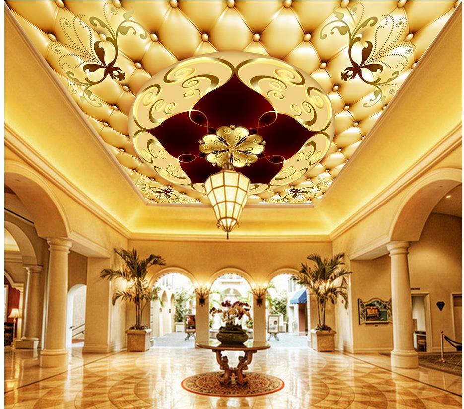 Home Decoration European Luxury Leather 3d Zenith Ceiling