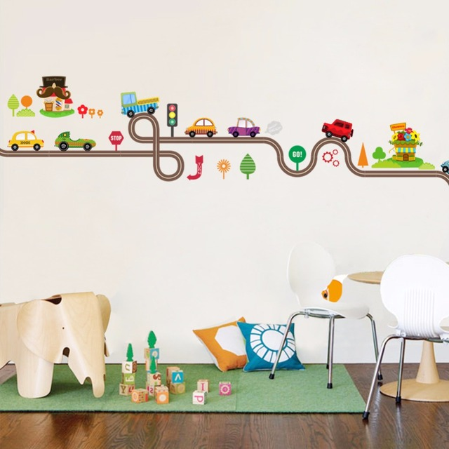 Cartoon Car Highway Track 147*40cm Wall Covered 6