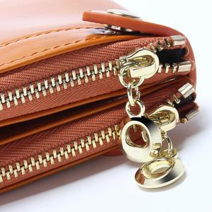 Image 5 - Women Wallets Genuine Leather  Medium Long Organizer Wallet Oil Wax Cowhide Hasp Vintage Lady Clutch Carteira Feminina Purse