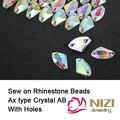 Grânulos de cristal 8.5x14mm 11.5x19mm Resina do Tipo Ax Sew em Cristal AB Flatback Beads Para Fazer o Vestido de DIY Beads New Cristal contas