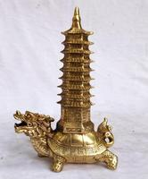 collection chinese habdnade brass Dragon Turtle Tower sculpture home decoration metal craft feng shui statue