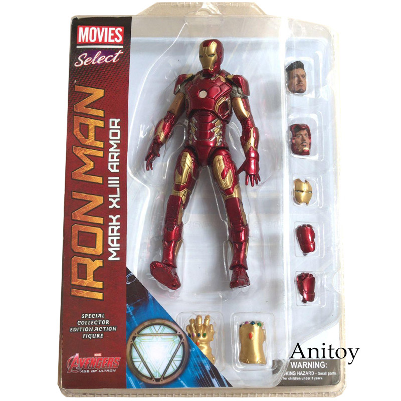 Marvel выберите Железный человек MK43 Mark ХLIII Броня ПВХ фигурку Коллекционная модель игрушки 7 18 см KT067 Ironman