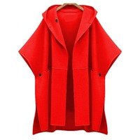 Women Woolen Coat Plus Size Slim Autumn Winter Casual Cloak Outerwear Warm Red High Street Loose Fashion Lady Black Hooded Coats