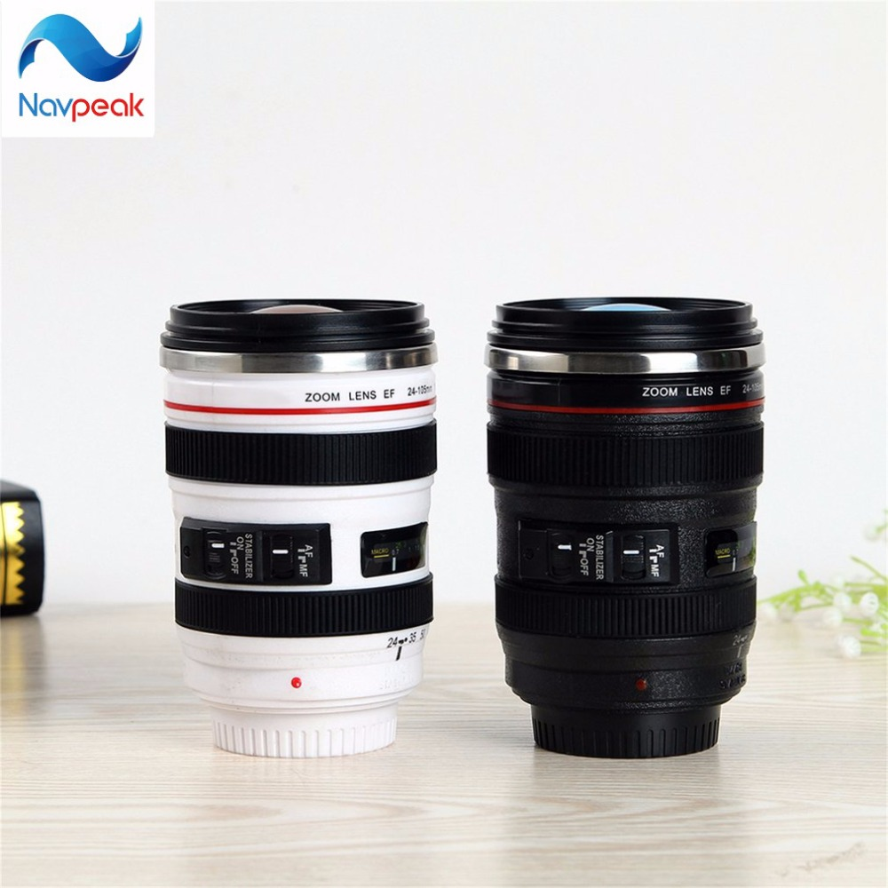 100pcs/lot Creative Camera Lens Cup Adiabatic Travel Coffee Mug Water Tea Cup With Lid Gift