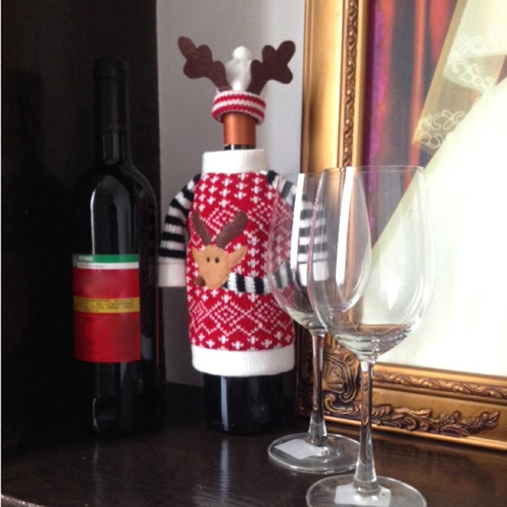 4 adet Kırmızı Noel Şarap Şişesi Kapağı Navidad Noel Baba - Tatiller ve Partiler Için