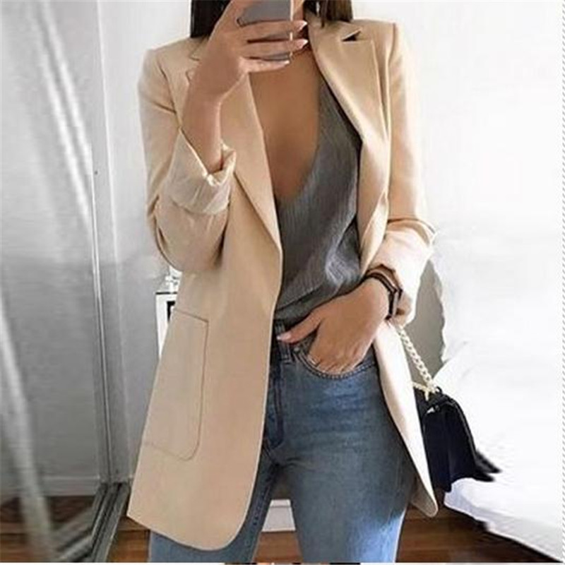 2019 New Women's Casual Mid Trench Coat Lapel Slim Ladies Womens Cardigan Outdoor Work Suit Jackets Woman Coat New Formal Suit