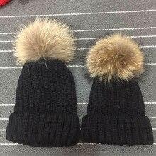 Parent Child Cap Women Beanies with Raccoon Fur Pompom Genuine Fur Ball Bobble Hat Raccoon Fur Pom 15cm Fluffy Fur Pompom Hat